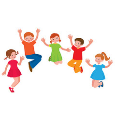 group of cheerful children in a jump cartoon vector image