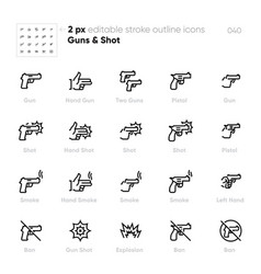 gun shot outline icons set hand pistol vector image