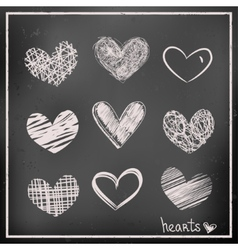 Hand drawn hearts on chalkboard vector
