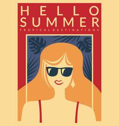 hello summer vacation destinations promo poster vector image