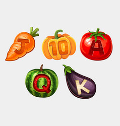 Icons of vegetables for slots game vector