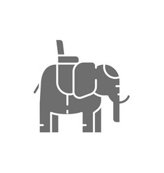 Indian elephant with a saddle grey icon vector