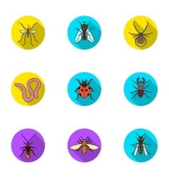 Insects set icons in flat style Big collection of vector