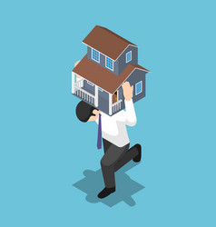 Isometric businessman carrying a house on his back vector