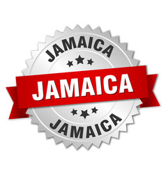 Jamaica round silver badge with red ribbon vector