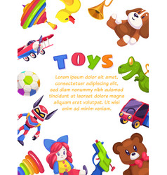 kids toys poster kid toy brochure cover design vector image