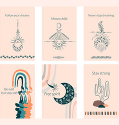 linear set boho composition in peachy color vector image