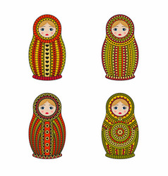 Matrioshka or nesting dolls set isolated on white vector