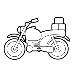 Motorcycle with boxes icon outline style vector image