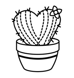 Needle heart cactus icon outline line style vector