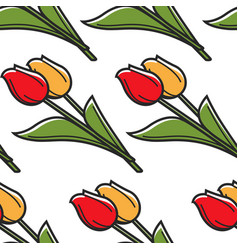 netherlands symbol tulips seamless pattern spring vector image