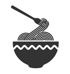 noodle in a plate thin long strip pasta vector image