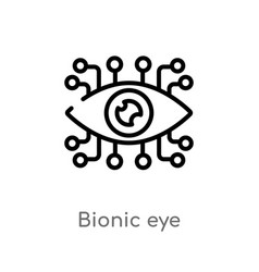 Outline bionic eye icon isolated black simple vector