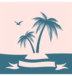 Palm island silhouette vector