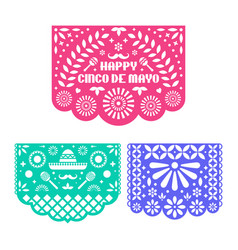 Papel picado set mexican paper decorations for vector