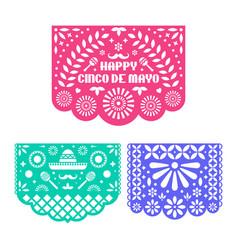 Papel picado set mexican paper decorations vector