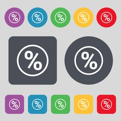 percentage discount icon sign A set of 12 colored vector image