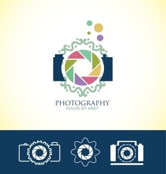 Photo camera floral logo vector