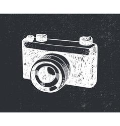 retro hand drawn hipster photo camera vector image