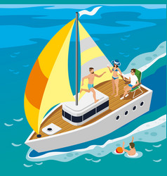 Rich people yacht isometric vector
