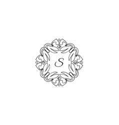 s letter logo monogram design elements line art vector image