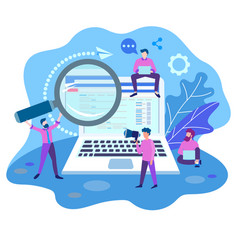 Search engine optimization team work on website vector