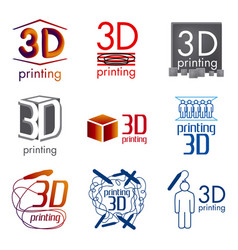set logos 3d printing and 3d pens vector image