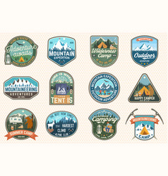 Set mountain expedition and summer camp patches vector