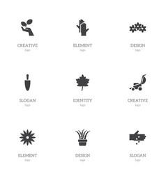 set of 9 editable gardening icons includes vector image