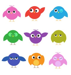 Set of cute birds with different emotions vector