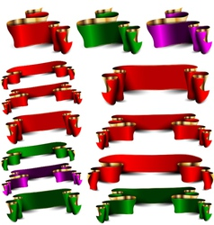 Set of empty royal color ribbons vector