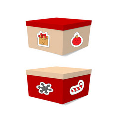 set of gift boxes for christmas red white vector image