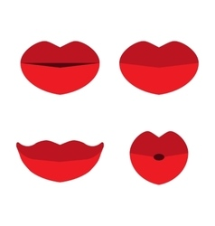 Set of red lips isolated on white background vector image