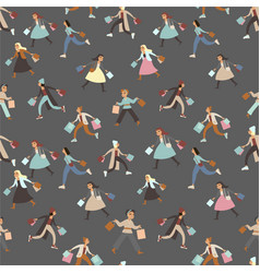shopping girls seamless pattern vector image