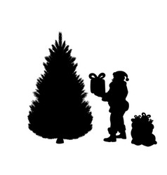 silhouette santa puts gifts under tree vector image