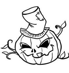 simple black and white pumpkin head 1 vector image