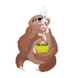 Sloth eating icon cartoon style vector