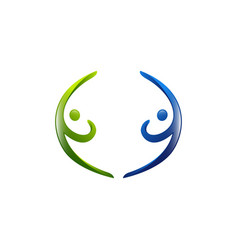 social media - logo concept human character logo vector image