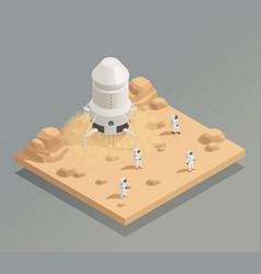 Spacecraft crew astronauts isometric composition vector