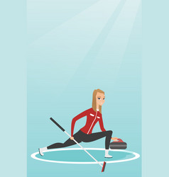 Sportswoman playing curling on a skating rink vector