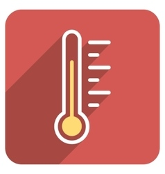 Temperature Level Flat Rounded Square Icon with vector