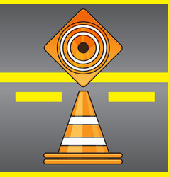 Traffic cones top and side view on road background vector