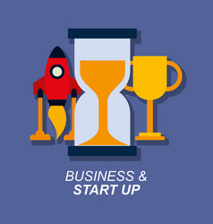 trophy hourglass and rocket business and star up vector image