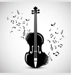 violin with notes music background jazz festival vector image