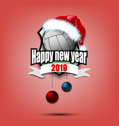 Volleyball ball with santa hat and happy new year vector