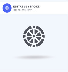 wheel icon filled flat sign solid vector image