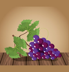 Wine grapes design on wooden table vector