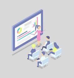 Woman at big digital screen shows presentation vector