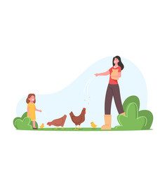 Young mother with little daughter feeding fowl vector
