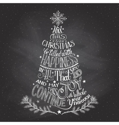 Christmas tree hand-lettering with chalk vector